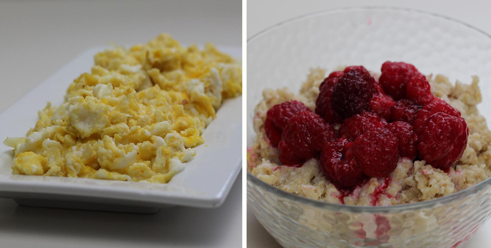 Petit déjeuner diététique : Porridge et œufs brouillés