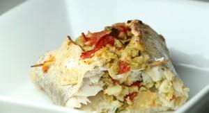 Recette diététique poisson : Merlu farci en papillote