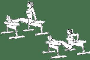 dips sur deux bancs ou chaises